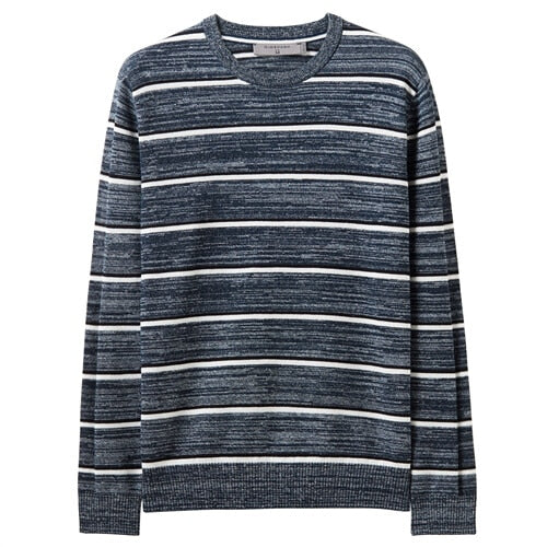Giordano Men Sweaters Contrast Crewneck Long Sleeve Pullover Men 12 Needle Knitted Medium Thickness Sueter Hombre 01059881