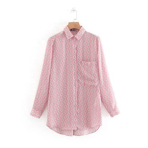 Tangada women pink chain print blouse oversized long sleeve female office ladies loose shirts stylish tops blusas XN270