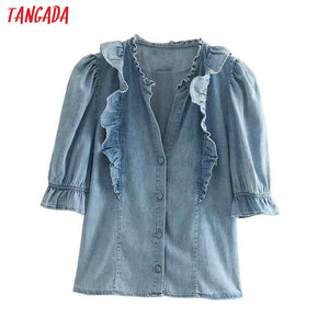 Tangada women blue denim shirts ruffle half sleeve v neck sweet vintage korean style casual female blouses tops 4M48
