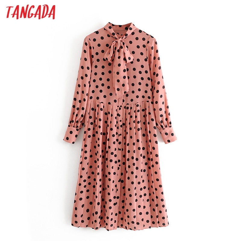 Tangada women pink dots print midi dress bow tie collar 2019 long sleeve female vintage casual pleated dresses vestidos 3H21