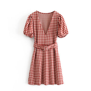 Tangada women knit dress plaid pattern short sleeve v neck lantern sleeve sashes 2019 ladies sweater dresses vestido 3H319