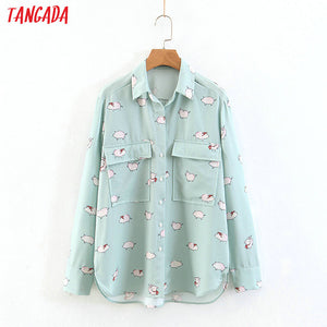 Tangada korea women cute print blouse green shirts turn down collar long sleeve pockets shirt spring female tops SL65