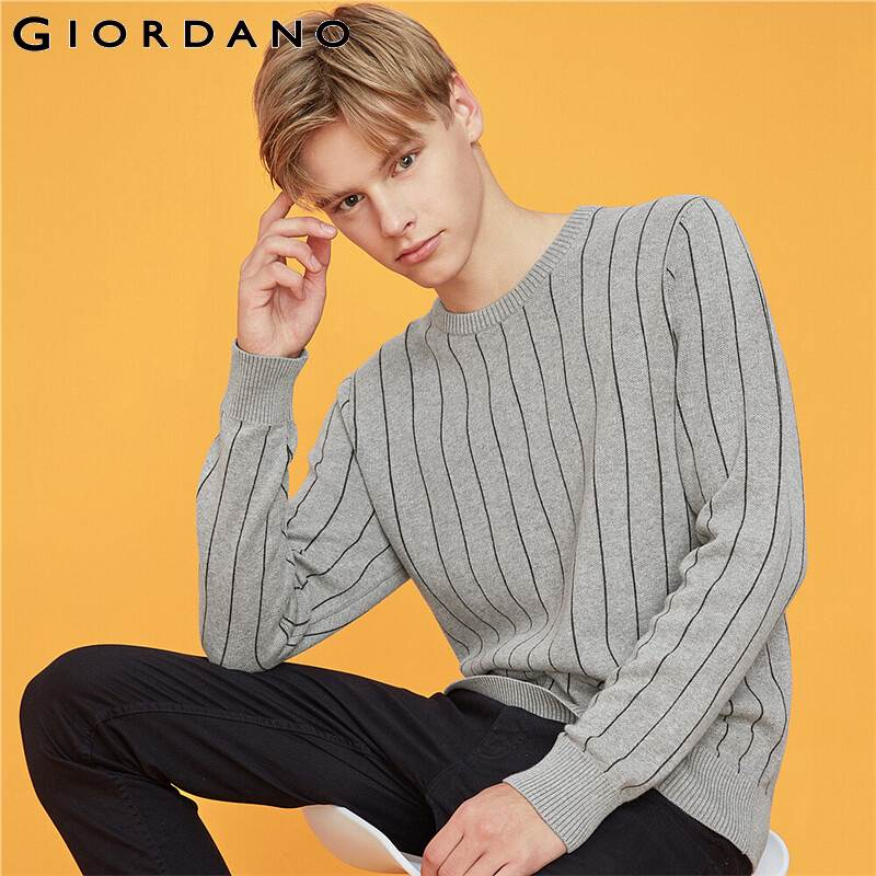 Giordano Men Sweaters Stripe Crewneck Long Sleeve Knitted Pullover Men Cotton 12 Needle Knitting Sueter Hombre 30059802