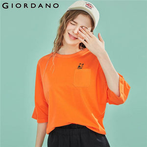Giordano Women T Shirt Women Printed Pattern Single Pocket At Chest T-shirt Woman Roundneck Pocket Casual Brand Camiseta Mujer