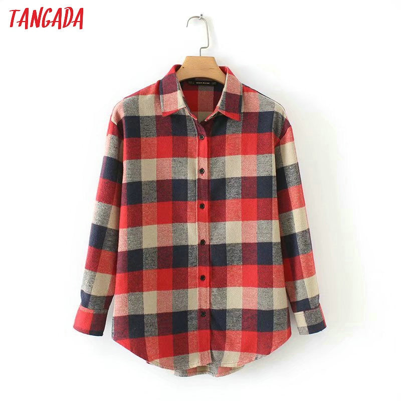 Tangada 2019 women plaid loose blouse long sleeve new arrival spring shirt big size elegant ladies casual brand tops SX25