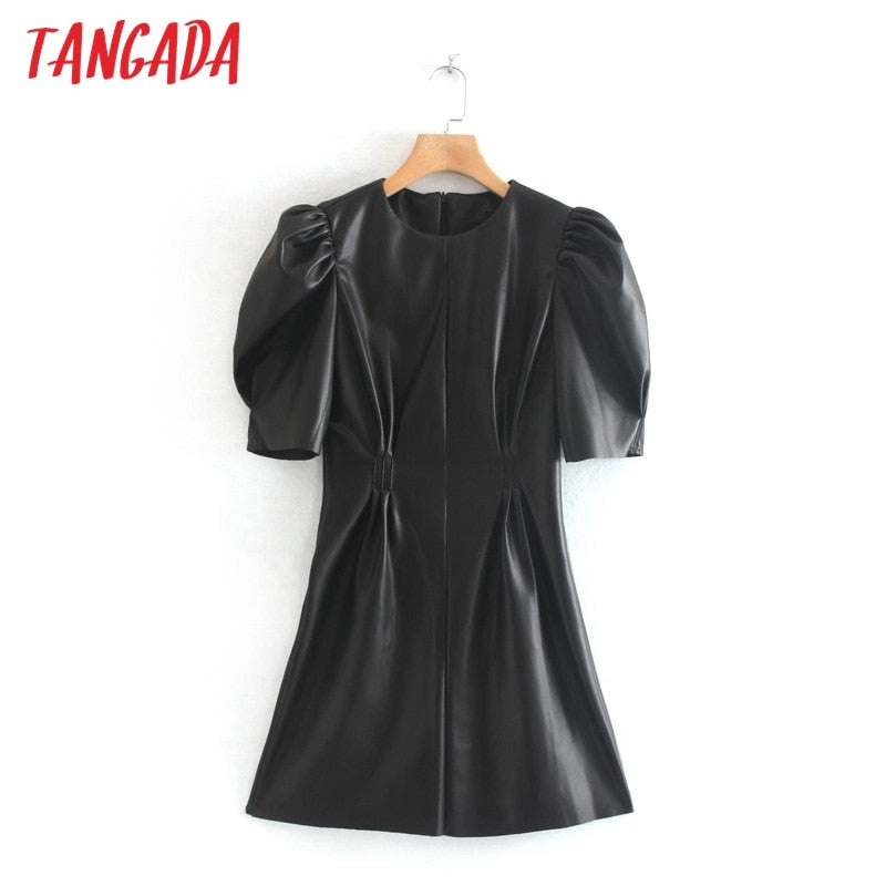 Tangada Women Black Faux Leather Dress Vintage Short Sleeve 2019 Zipper female Pleated Tunic Mini Dress 2W92
