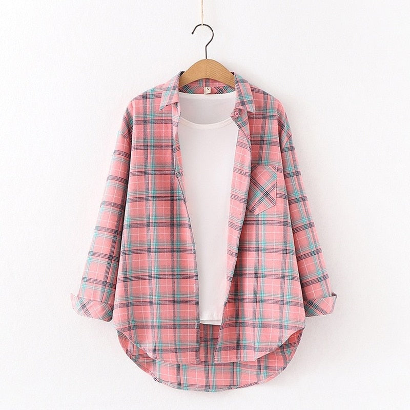 Tangada fashion women chic oversized plaid blouse long sleeve female casual print shirts stylish cotton tops blusas -84