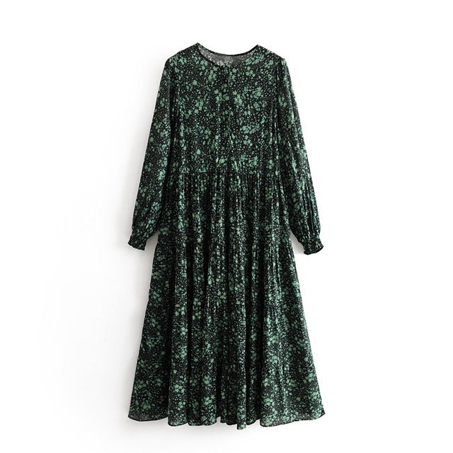 Tangada women floral print pleated dress long sleeve o neck 2019 vintage female loose midi dress vestidos feminina 3H75