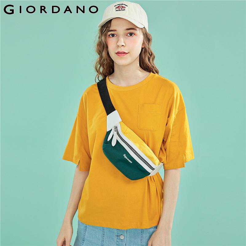Giordano Women Tshirt Women Single Pocket At Chest T-shirt Women Stylish Round Neck Camiseta Mujer Side Vents At Cuffs Tees
