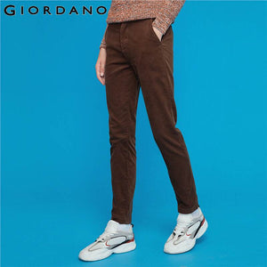 Giordano Men Pants Corduroy Button Closure Zip Fly Trousers Men Multi Pocket Slight Thick Soft Warm Pantalones Hombre 13119806