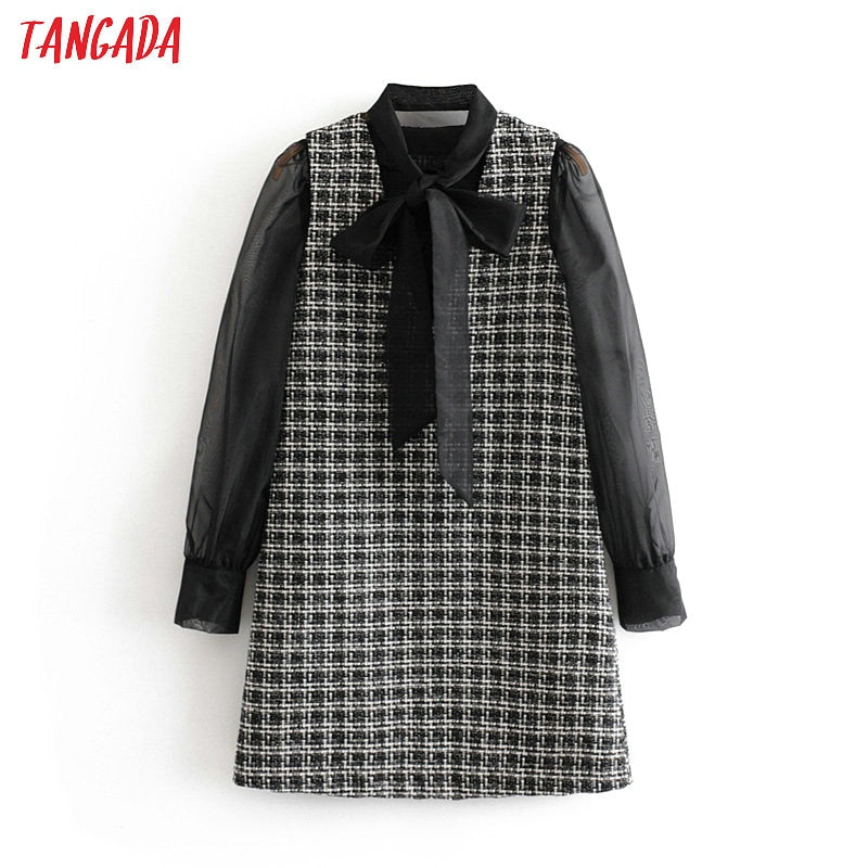 Tangada women plaid dress mesh long sleeve bow tie neck 2019 vintage female office midi dress vestidos feminina 3H113