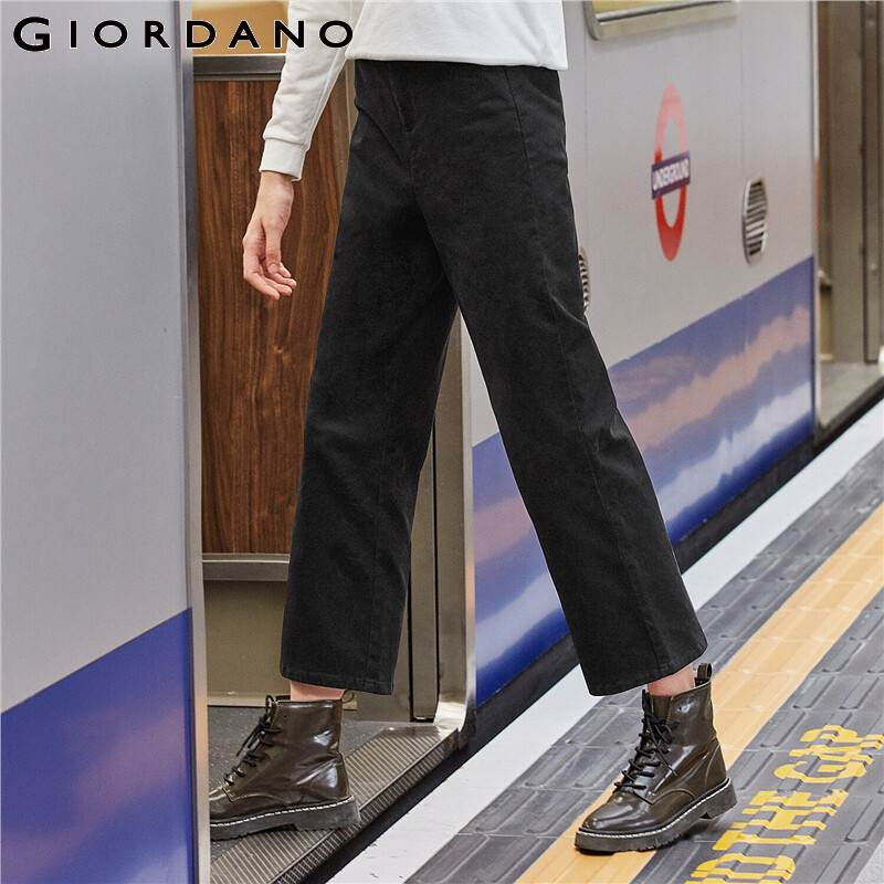 Giordano Women Pants Stretchy Elastic Waistband Ankle-length Pants Women Multi-pockets Zip Fly Pantalones Mujer 05429722