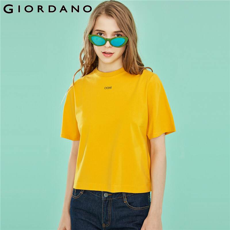 Giordano Women T Shirt Women Embroidered Letter Ribbed Roundneck Summer Tshirt For Women Cotton Spandex Fabric Fashion Tee