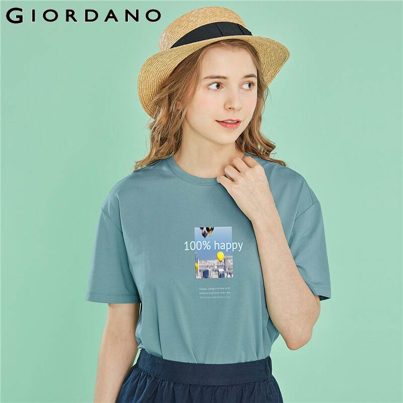 Giordano Women Tshirt Women All-match Casual Tees Print Letter Graphic Pure Smooth Cotton Camisa Femenina 2019