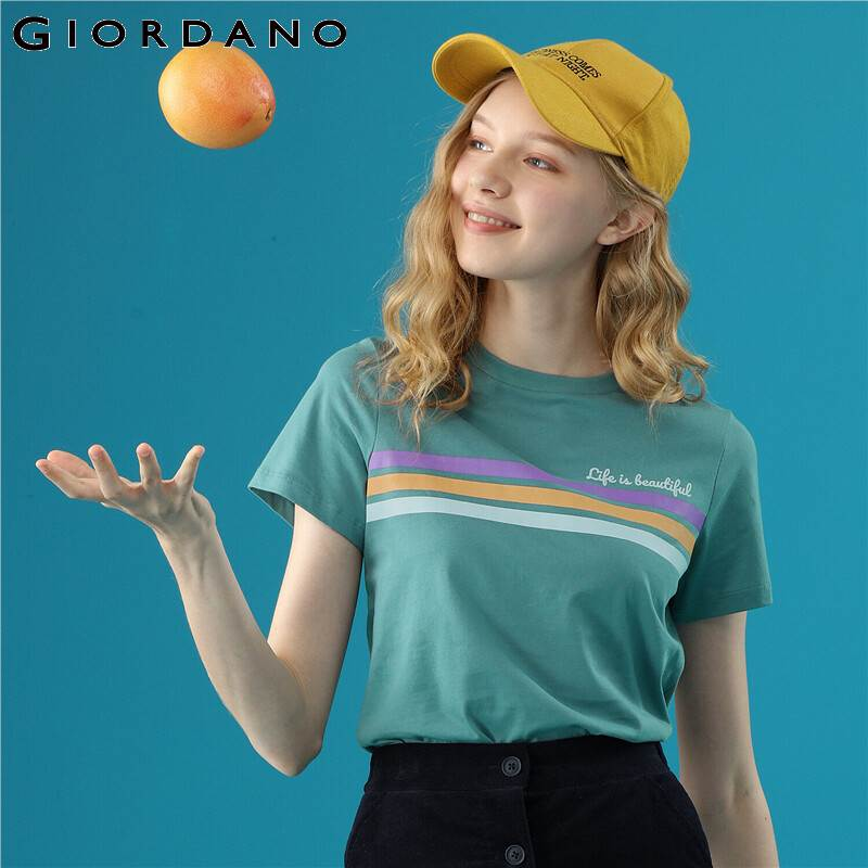 Giordano Women Tshirt Women Colorful Stripes 100% Cotton Soft Fabric Short-sleeve Tshirts Women Summer Blusas Femininas