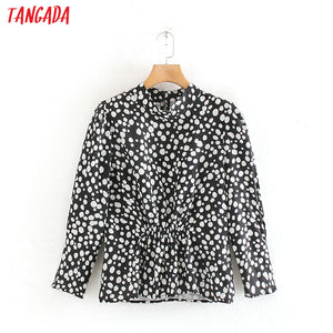 Tangada women dots print pleated blouse stand collar back buttons long sleeve chic shirt blusas femininas 3W38