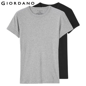 Giordano Men Essentials Solid Undershirt Basic T-shirt Male Short Sleeve O-Neck Tops for Men Camisetas Hombre (2-pack)