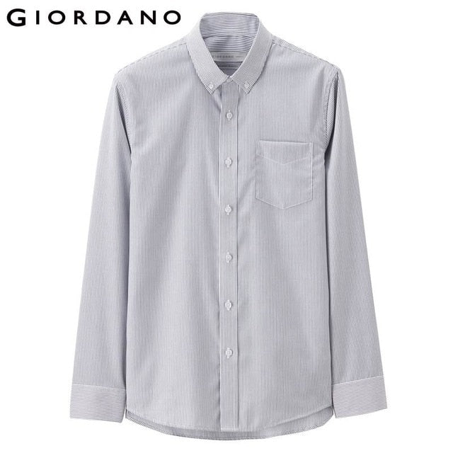 Giordano Men Shirts Oxford Cotton Wrinkle-free Shirt Long Sleeves Slim Fit Casual Camisa Masculina Button Social Chemise Homme