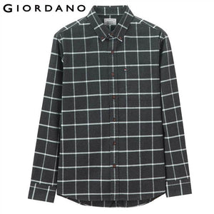 Giordano Men Shirt Men Thick Cotton Camisa Masculina Single Pocket At Chest Long-sleeve Shirts Quality Thicken Camiseta