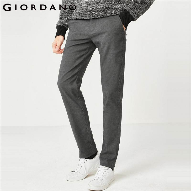 Giordano Men Pants Men Stretchy Solid Mid Rise Streetwear Zip Fly Button Placket Casual Pants Slant Pockets Pantalon Hombre