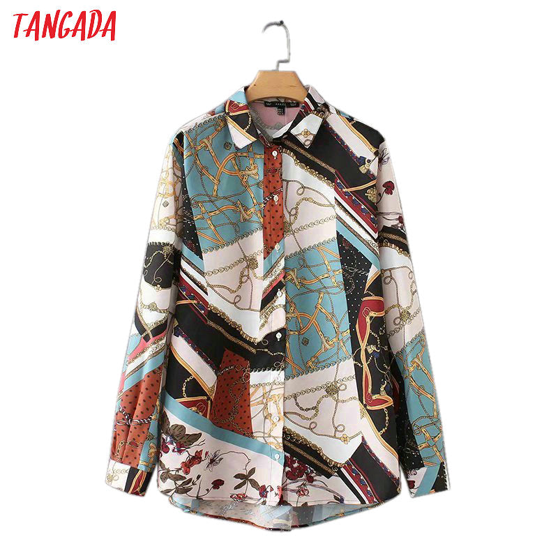 Tangada 2019 fashion women print blouse shirts vintage turn down collar long sleeve shirt chiffon loose cozy brand female AZ104