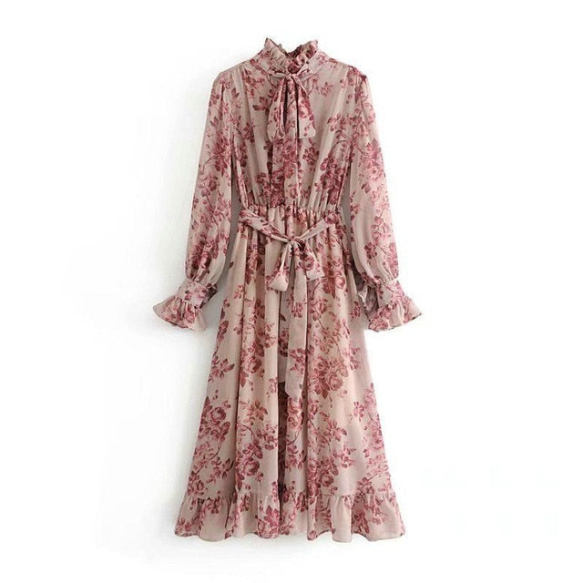 Tangada women flower print ruffle dress with belt vintage bow collar long sleeve pleated lady boho maxi dresses vestidos 5D25
