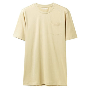 Giordano Men T Shirt Men Single Pocket Short Sleeves Ribbed Round Neck Tshirt Men Loose Fit Casual Summer Tee Shirt Masculina