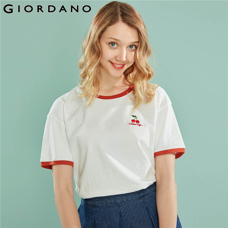 Giordano Women Tshirt Women Embroidery Fruits Contrast Color Crewneck Short Sleeve Tees Women Soft Cotton Fasion Women T Shirt