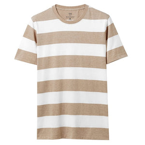 Giordano Men T-Shirt Striped Crewneck T Shirt For Men Short Sleeve Summer Tee Shirt Homme Camiseta Masculina Contrast Color