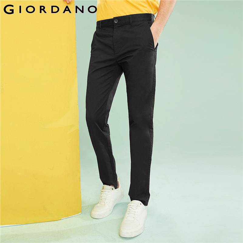 Giordano Men Casual Pants Men Stretchy Spandex Cotton Blended Mid-low Rise Thin Casual Men Pants Zip Closure Pockets Pantalon