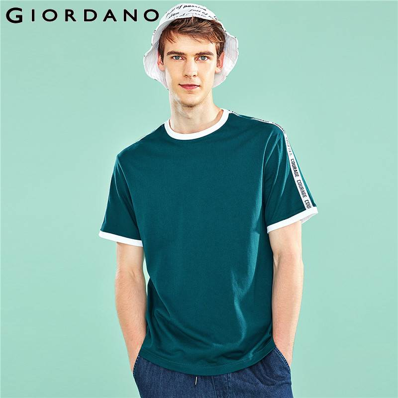 Giordano Men T-Shirt Fashion Contrast Color Tshirt Men Short Sleeve Printed Letter Tee Shirt Homme Loose Cutting Men Clothes
