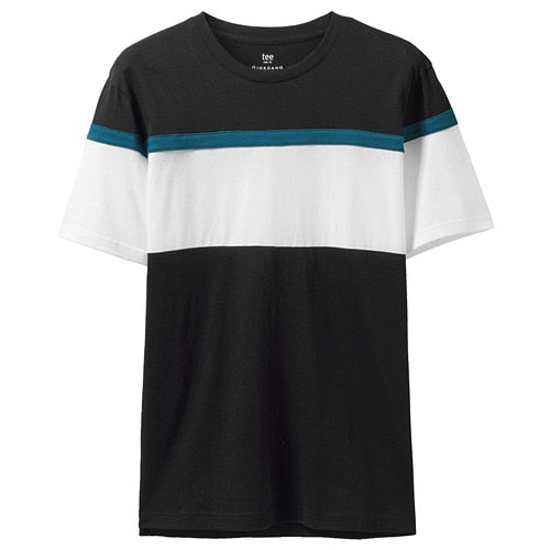 Giordano Men Tshirt Men Contrast Color Fashion Ribbed Crewneck 100% Cotton T Shirt Men Short Sleeve Camisetas Masculina