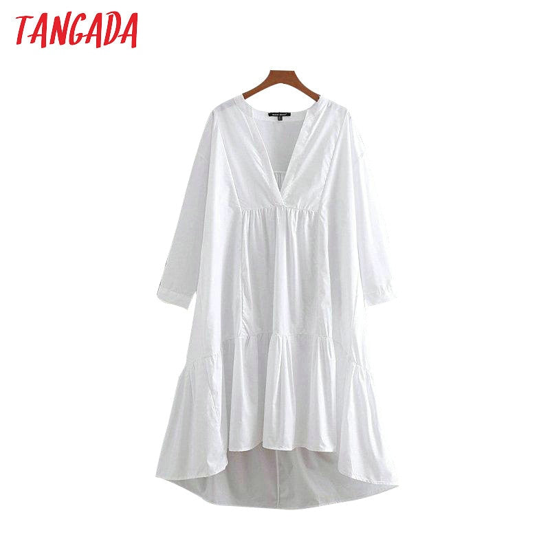Tangada korea style women asymmetric shirt dress chic v   neck white pleated dresses long sleeve designer brand vestidos CE54