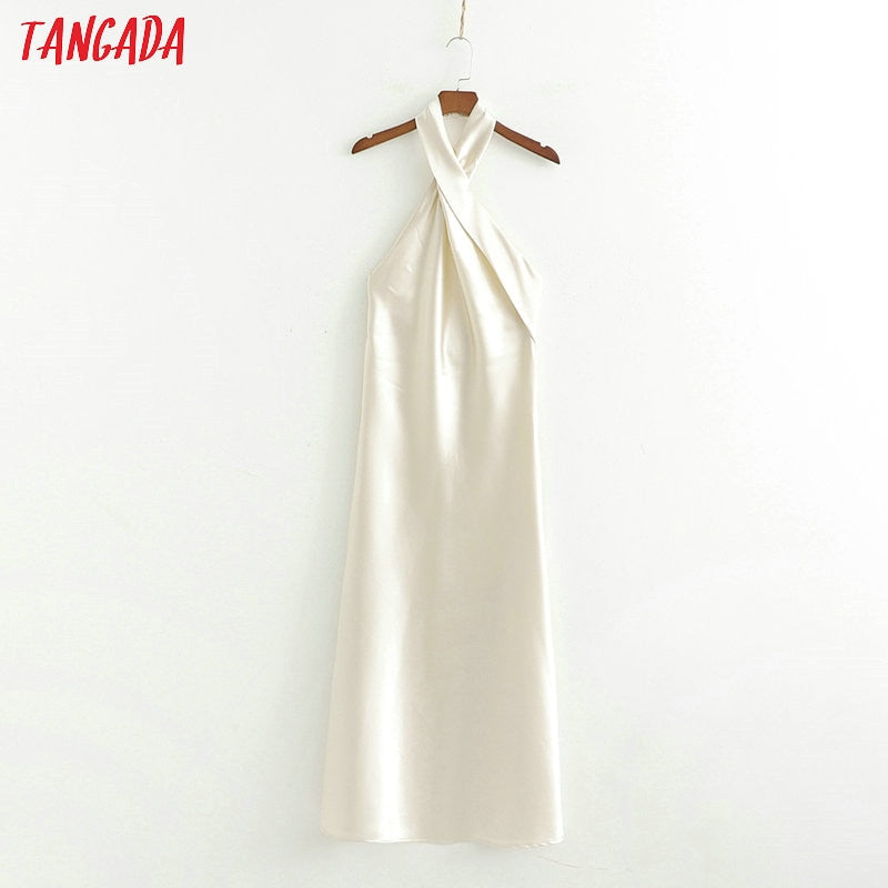 Tangada women summer dress sleeveless cross halter 2019 new arrival elegant ladies sexy maxi long dress vestidos 1D254