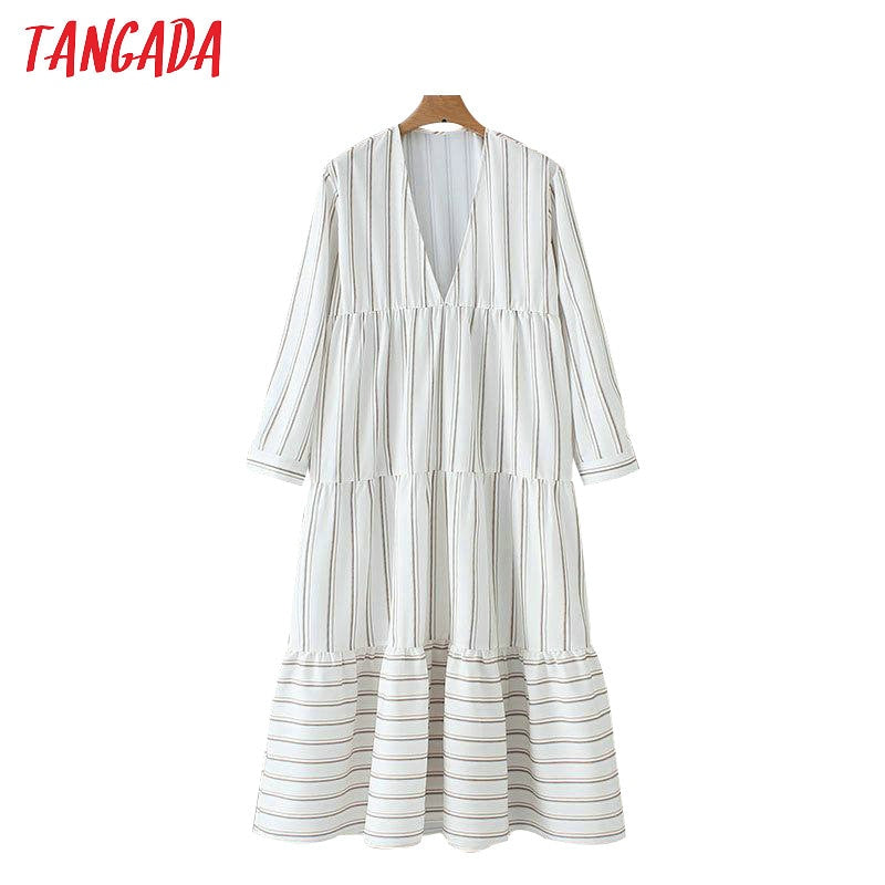 Tangada fashion women striped dress deep v-neck long sleeve ladies dress oversize pleated maxi vestidos XZH132