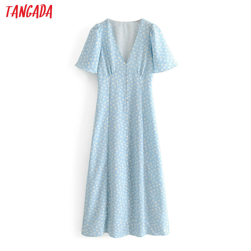 Tangada summer women blue flower chiffon dresses short sleeve v neck sweet korea chic a line dress vestidos feminina 3H99