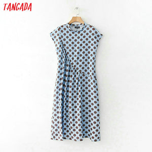 Tangada fashion Women sundress blue polka dot Dress ruffles Sleevess Ladies Long Maxi Dresses summer High Street Vestido XD208