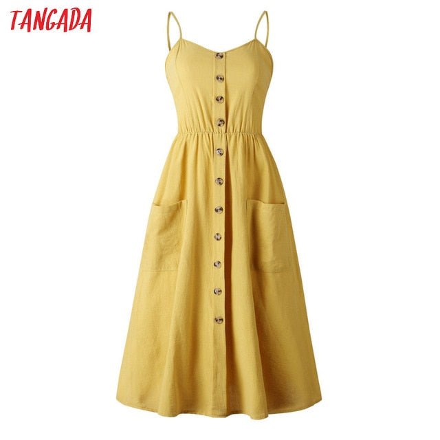 Tangada Summer Dress For Women Vintage Sexy Yellow Dress 2019 Spaghetti Strap Sundress Stripe Print Female Midi Dress AON41