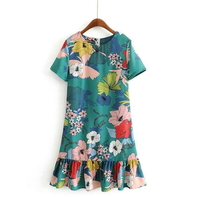 Tangada korean style dress print mini pleated dress for women clothing ladies short sleeve o-neck dress vestidos for summer AH25