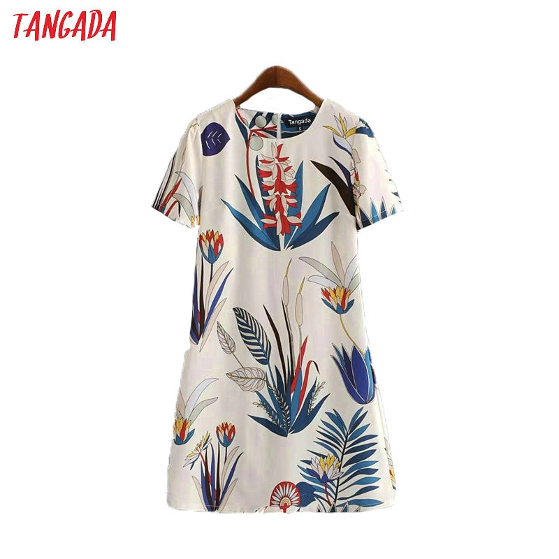 Tangada floral leaves print fit dress women summer dress o-neck short sleeve mini dresses casual vestidos female AH09