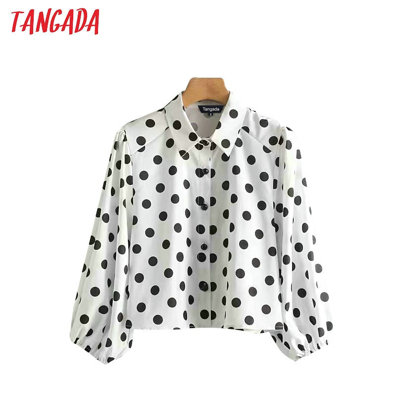 Tangada korea chic women polka dot shirts blouses short style retro loose lady lantern sleeve crop tops blusas XN233