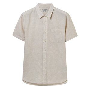 Giordano Men Shirt Men Quality Linen Cotton Blended Fabric Single Pocket Camisa Masculina Short Sleeve Shirt Summer