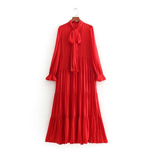 Tangada women maxi red dress korea style vintage bow tie neck pleated fashion solid long sleeve ladies dresses vestidos CE01