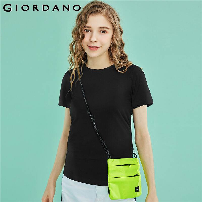 Giordano Women Tshirt Short Sleeve Mockneck Camisetas Verano Mujer 2019 Solid Ladies T Shirt Stretchy Camiseta Feminina