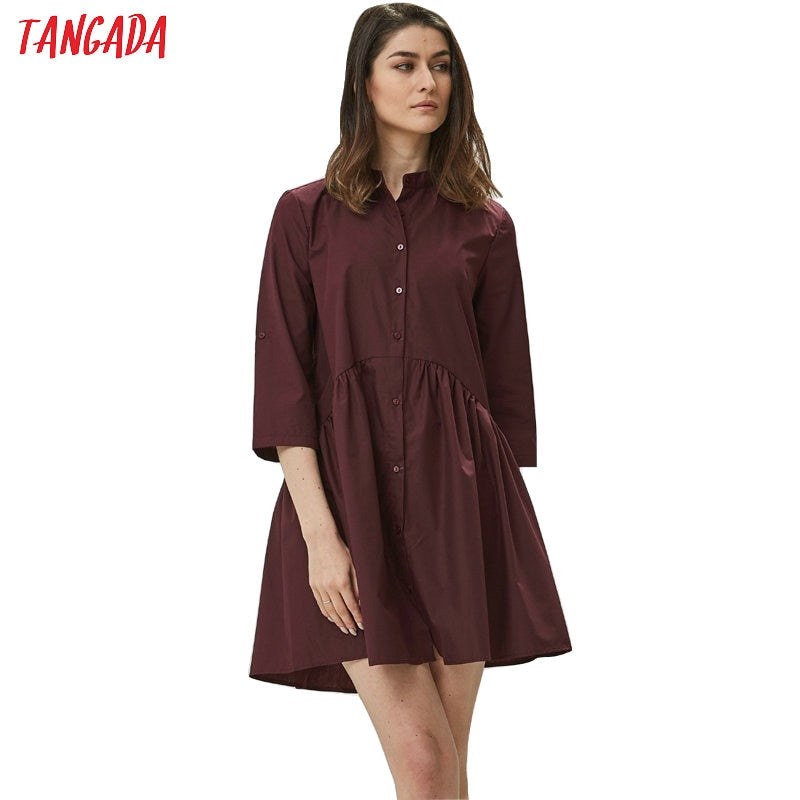 Tangada fshion women loose blouse dress stand neck long sleeve 2019 autumn ladies dress elegant brand vestidos XZH26