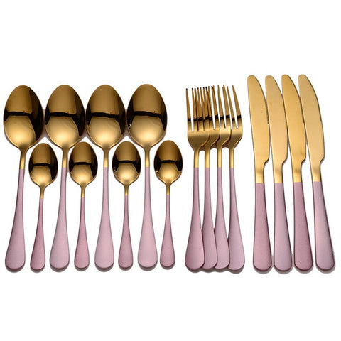 Gold/Pink Stainless Steel Cutlery Set