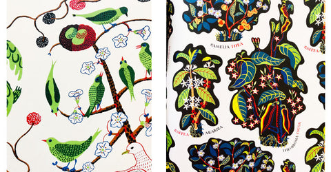 Green Birds and Drinks by Josef Frank