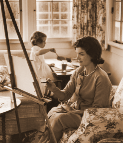 Jackie Onassis Kennedy, Painting with Daughter Caroline