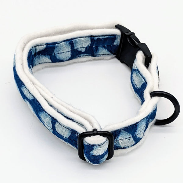 Silky Blue White Collar