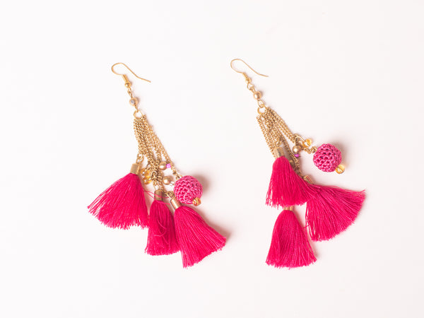 Pink crochet tassel earrings